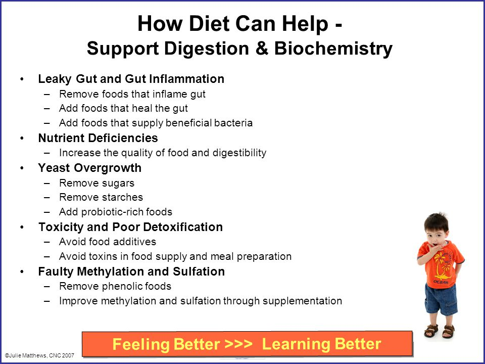 ©Julie Matthews, CNC 2007 How Diet Can Help - Support Digestion & Biochemistry Leaky Gut and Gut Inflammation –Remove foods that inflame gut –Add foods that heal the gut –Add foods that supply beneficial bacteria Nutrient Deficiencies –Increase the quality of food and digestibility Yeast Overgrowth –Remove sugars –Remove starches –Add probiotic-rich foods Toxicity and Poor Detoxification –Avoid food additives –Avoid toxins in food supply and meal preparation Faulty Methylation and Sulfation –Remove phenolic foods –Improve methylation and sulfation through supplementation Feeling Better >>> Learning Better