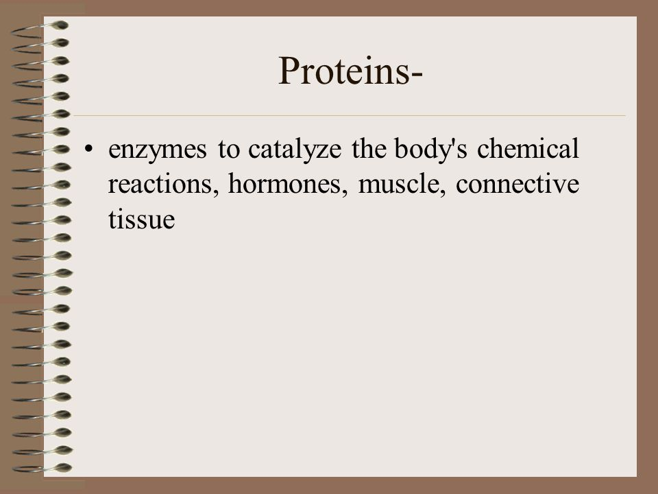 Proteins- enzymes to catalyze the body s chemical reactions, hormones, muscle, connective tissue