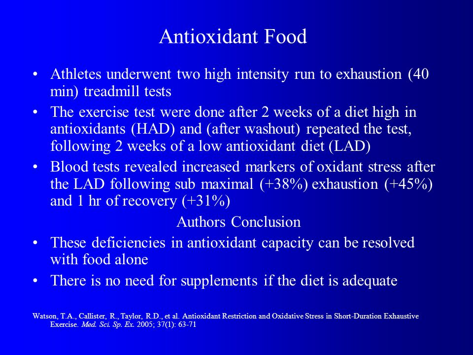 Antioxidant Food Athletes underwent two high intensity run to exhaustion (40 min) treadmill tests The exercise test were done after 2 weeks of a diet high in antioxidants (HAD) and (after washout) repeated the test, following 2 weeks of a low antioxidant diet (LAD) Blood tests revealed increased markers of oxidant stress after the LAD following sub maximal (+38%) exhaustion (+45%) and 1 hr of recovery (+31%) Authors Conclusion These deficiencies in antioxidant capacity can be resolved with food alone There is no need for supplements if the diet is adequate Watson, T.A., Callister, R., Taylor, R.D., et al.