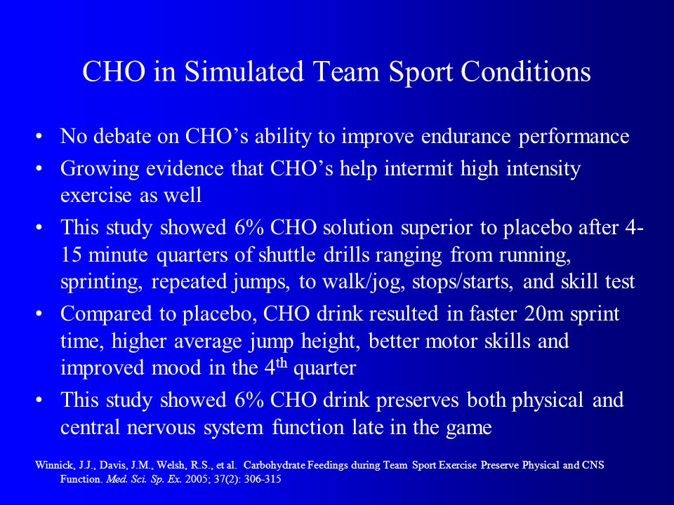 CHO in Simulated Team Sport Conditions No debate on CHOs ability to improve endurance performance Growing evidence that CHOs help intermit high intensity exercise as well This study showed 6% CHO solution superior to placebo after 4- 15 minute quarters of shuttle drills ranging from running, sprinting, repeated jumps, to walk/jog, stops/starts, and skill test Compared to placebo, CHO drink resulted in faster 20m sprint time, higher average jump height, better motor skills and improved mood in the 4 th quarter This study showed 6% CHO drink preserves both physical and central nervous system function late in the game Winnick, J.J., Davis, J.M., Welsh, R.S., et al.