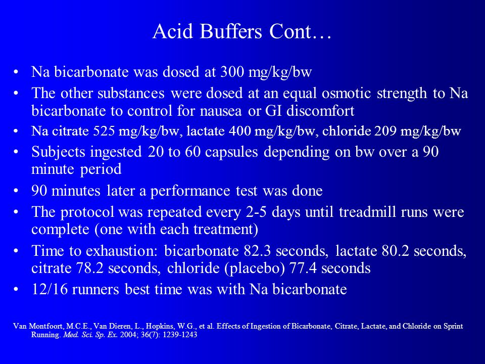 Acid Buffers Cont… Na bicarbonate was dosed at 300 mg/kg/bw The other substances were dosed at an equal osmotic strength to Na bicarbonate to control for nausea or GI discomfort Na citrate 525 mg/kg/bw, lactate 400 mg/kg/bw, chloride 209 mg/kg/bw Subjects ingested 20 to 60 capsules depending on bw over a 90 minute period 90 minutes later a performance test was done The protocol was repeated every 2-5 days until treadmill runs were complete (one with each treatment) Time to exhaustion: bicarbonate 82.3 seconds, lactate 80.2 seconds, citrate 78.2 seconds, chloride (placebo) 77.4 seconds 12/16 runners best time was with Na bicarbonate Van Montfoort, M.C.E., Van Dieren, L., Hopkins, W.G., et al.