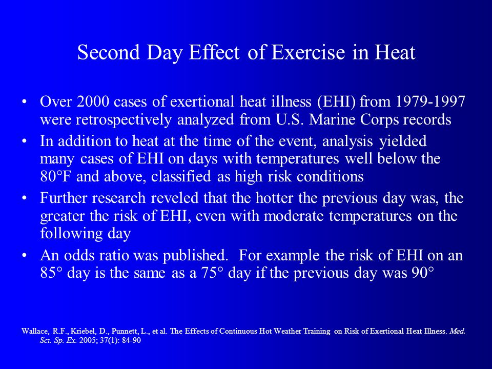 Second Day Effect of Exercise in Heat Over 2000 cases of exertional heat illness (EHI) from 1979-1997 were retrospectively analyzed from U.S.