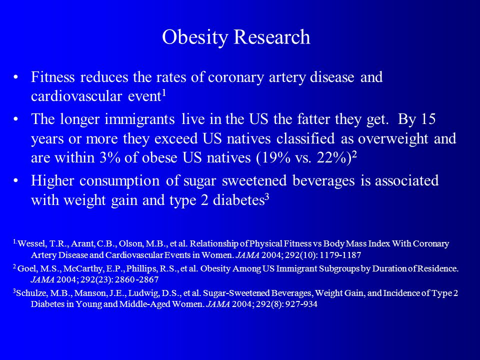 Obesity Research Fitness reduces the rates of coronary artery disease and cardiovascular event 1 The longer immigrants live in the US the fatter they get.