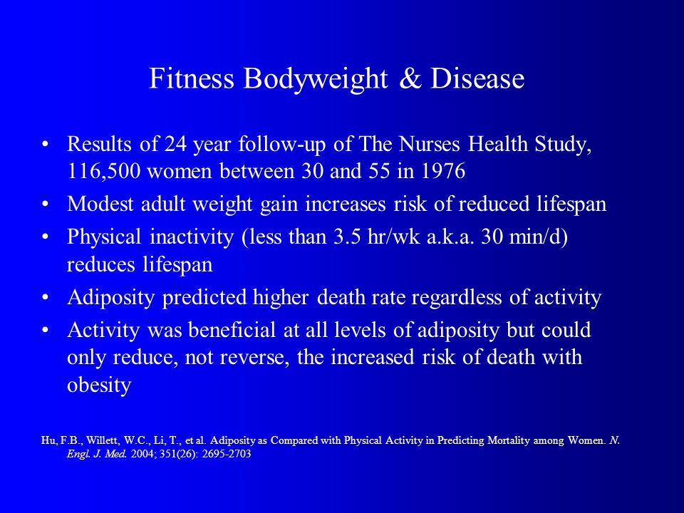 Fitness Bodyweight & Disease Results of 24 year follow-up of The Nurses Health Study, 116,500 women between 30 and 55 in 1976 Modest adult weight gain increases risk of reduced lifespan Physical inactivity (less than 3.5 hr/wk a.k.a.