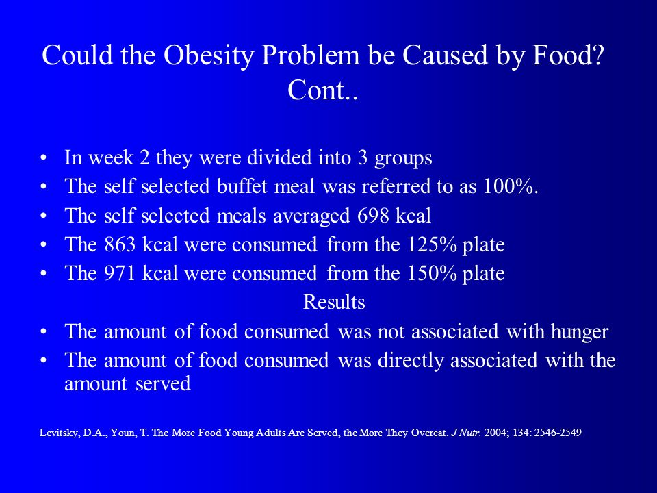 Could the Obesity Problem be Caused by Food. Cont..