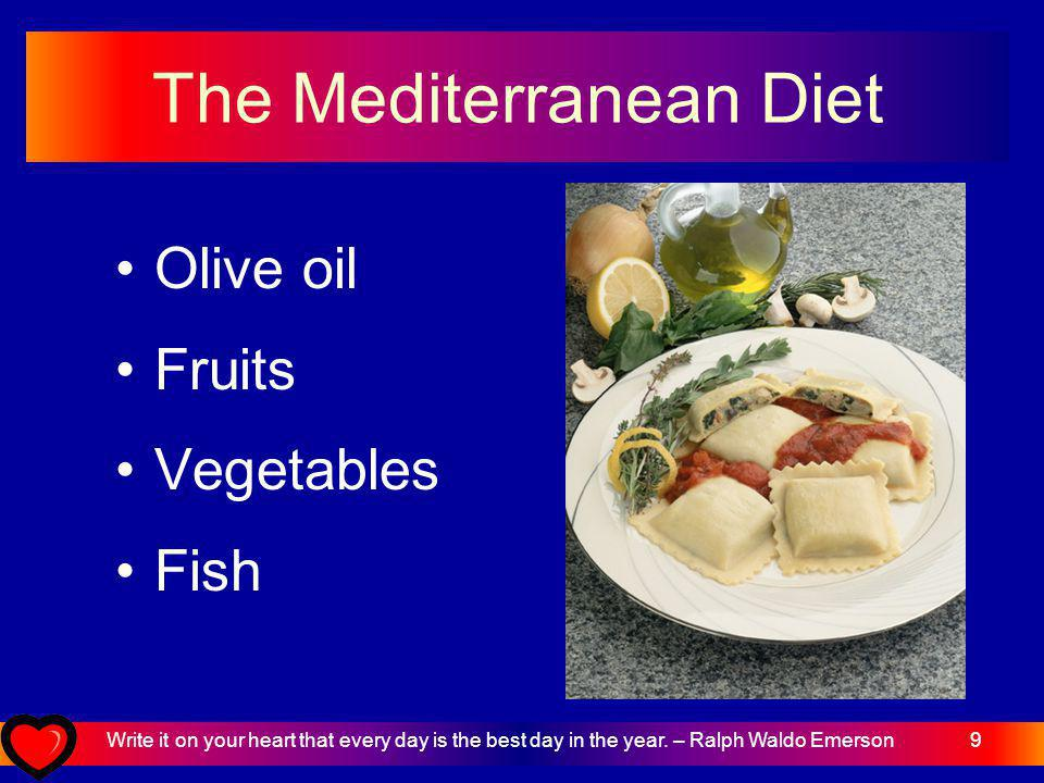 9 The Mediterranean Diet Olive oil Fruits Vegetables Fish Write it on your heart that every day is the best day in the year.