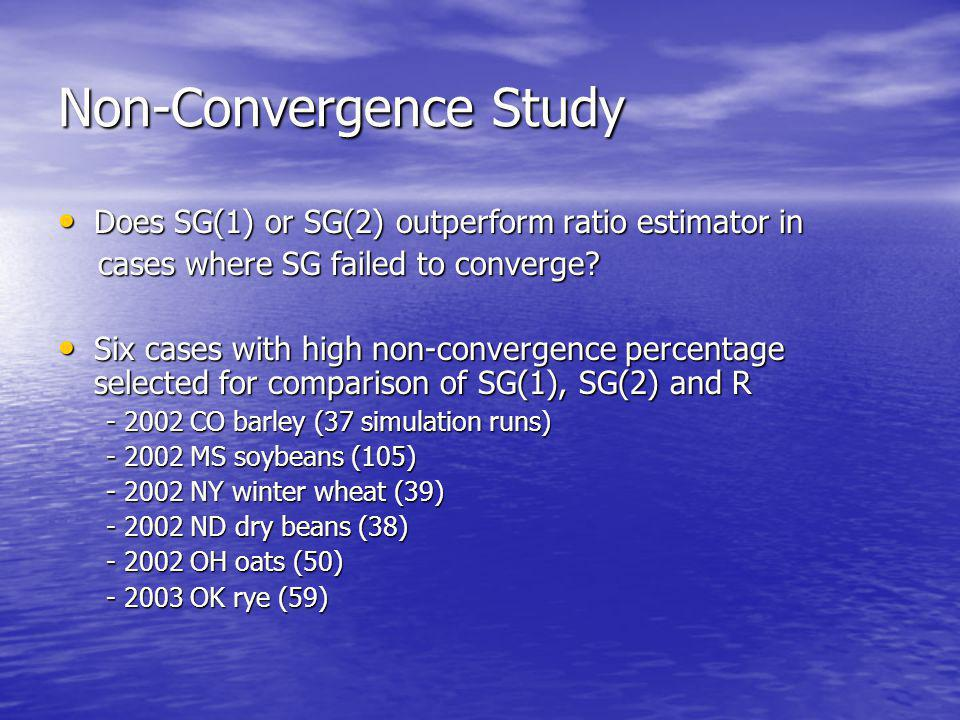 Non-Convergence Study Does SG(1) or SG(2) outperform ratio estimator in Does SG(1) or SG(2) outperform ratio estimator in cases where SG failed to converge.
