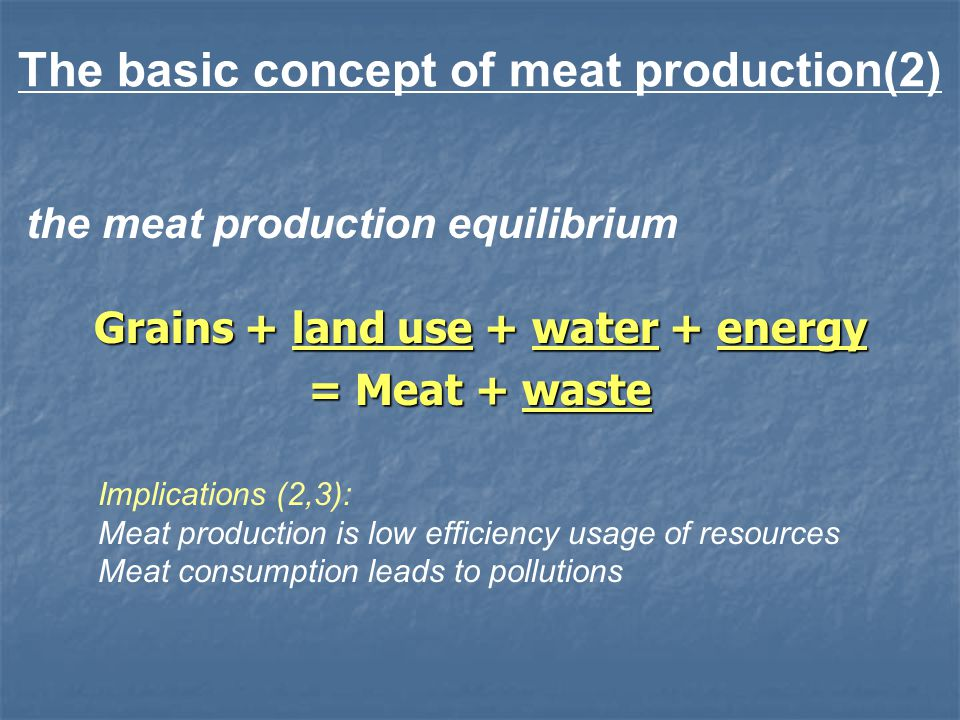 the meat production equilibrium Grains + land use + water + energy = Meat + waste Implications (2,3): Meat production is low efficiency usage of resources Meat consumption leads to pollutions The basic concept of meat production(2)