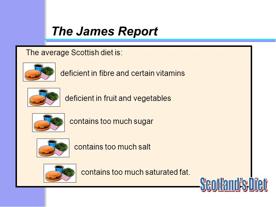 The average Scottish diet is: deficient in fibre and certain vitamins contains too much sugar contains too much salt contains too much saturated fat.