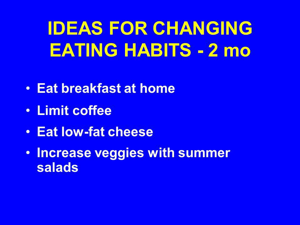 IDEAS FOR CHANGING EATING HABITS - 2 mo Eat breakfast at home Limit coffee Eat low-fat cheese Increase veggies with summer salads