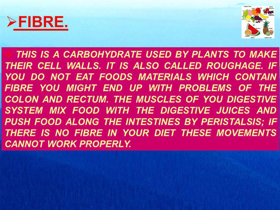 FIBRE. THIS IS A CARBOHYDRATE USED BY PLANTS TO MAKE THEIR CELL WALLS.