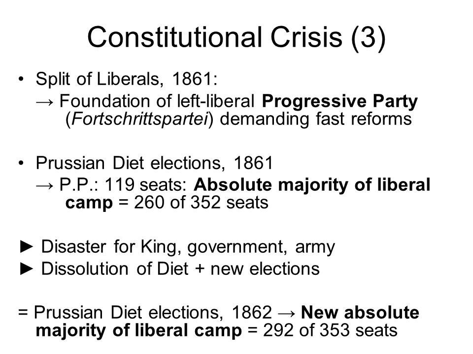 Constitutional Crisis (3) Split of Liberals, 1861: Foundation of left-liberal Progressive Party (Fortschrittspartei) demanding fast reforms Prussian Diet elections, 1861 P.P.: 119 seats: Absolute majority of liberal camp = 260 of 352 seats Disaster for King, government, army Dissolution of Diet + new elections = Prussian Diet elections, 1862 New absolute majority of liberal camp = 292 of 353 seats
