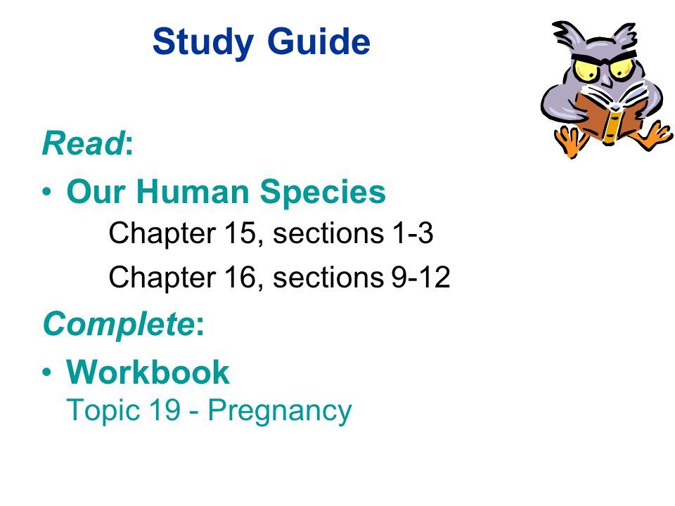 Study Guide Read: Our Human Species Chapter 15, sections 1-3 Chapter 16, sections 9-12 Complete: Workbook Topic 19 - Pregnancy