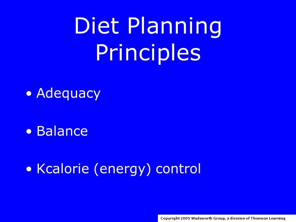Planning A Healthy Diet Copyright 2005 Wadsworth Group, a division of Thomson Learning