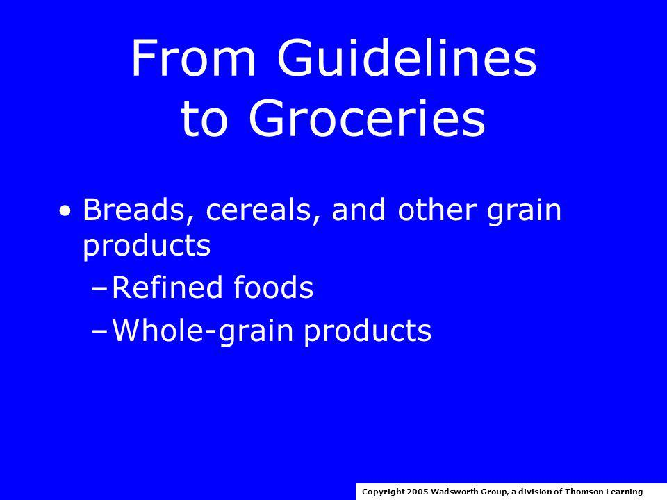 From Guidelines to Groceries Processed foods Fortified foods Copyright 2005 Wadsworth Group, a division of Thomson Learning