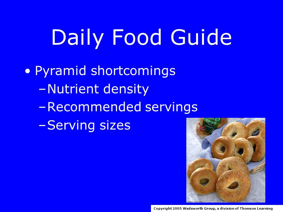 Daily Food Guide Copyright 2005 Wadsworth Group, a division of Thomson Learning