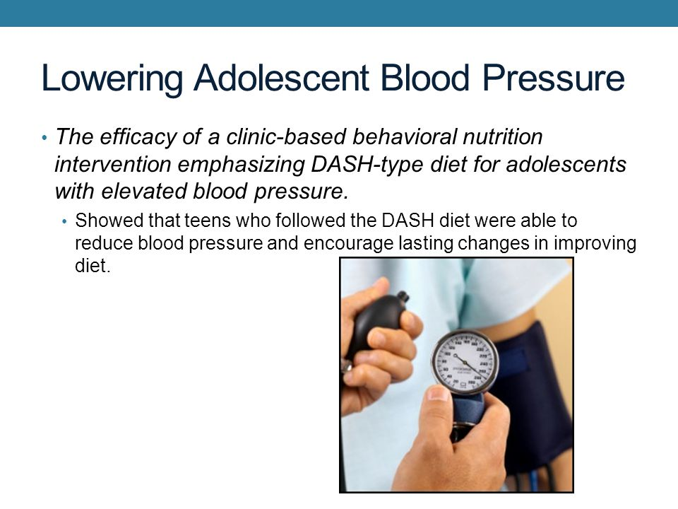 Lowering Adolescent Blood Pressure The efficacy of a clinic-based behavioral nutrition intervention emphasizing DASH-type diet for adolescents with elevated blood pressure.
