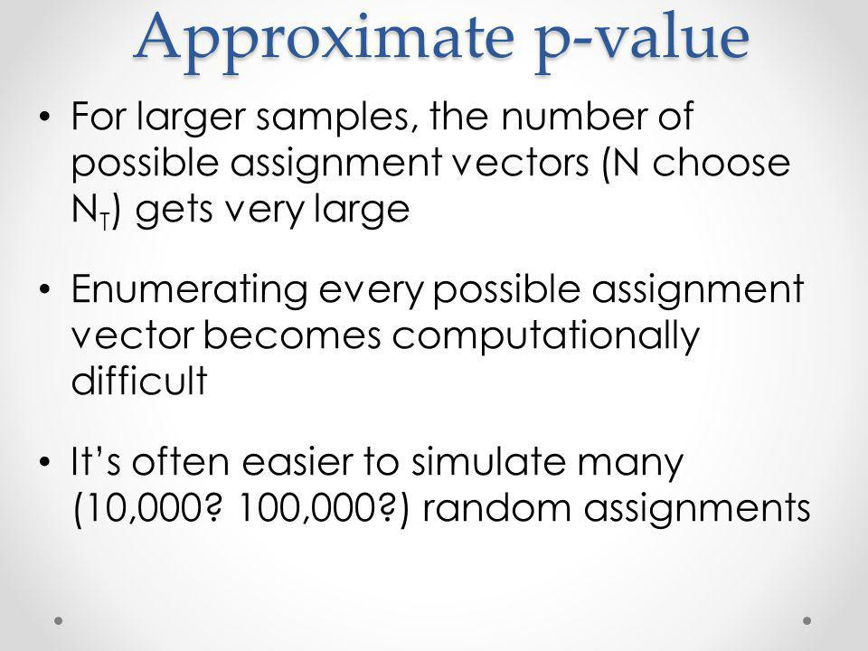 Approximate p-value For larger samples, the number of possible assignment vectors (N choose N T ) gets very large Enumerating every possible assignment vector becomes computationally difficult Its often easier to simulate many (10,000.