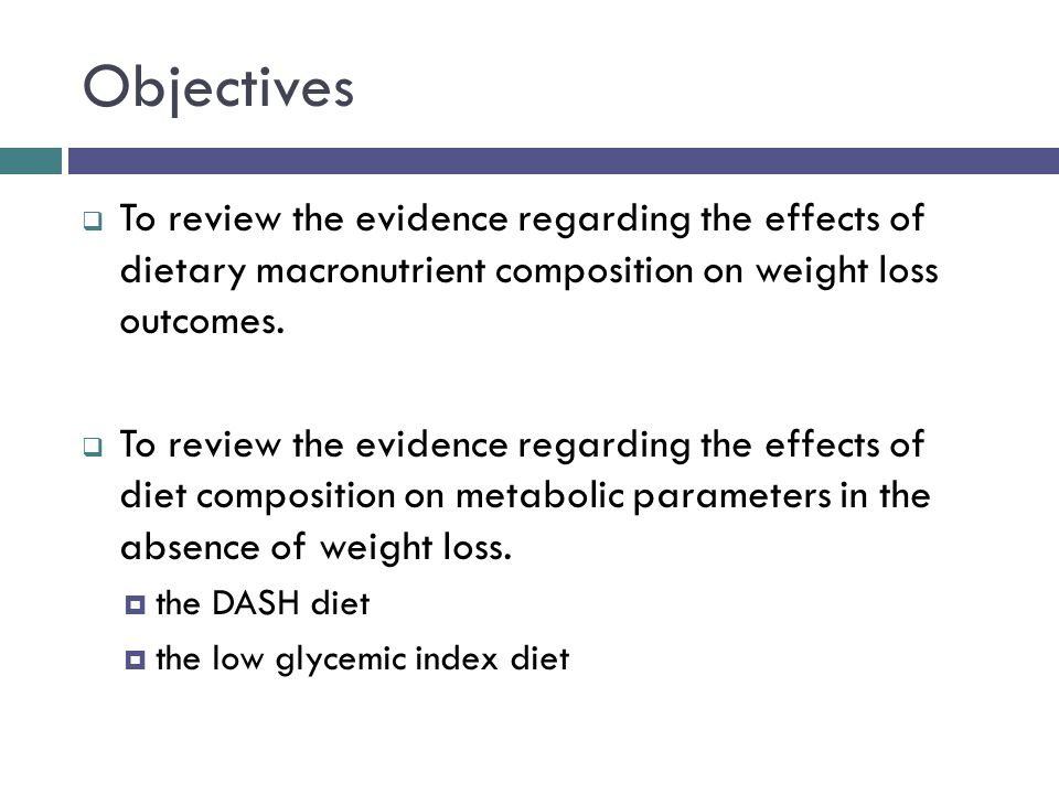 Objectives To review the evidence regarding the effects of dietary macronutrient composition on weight loss outcomes.