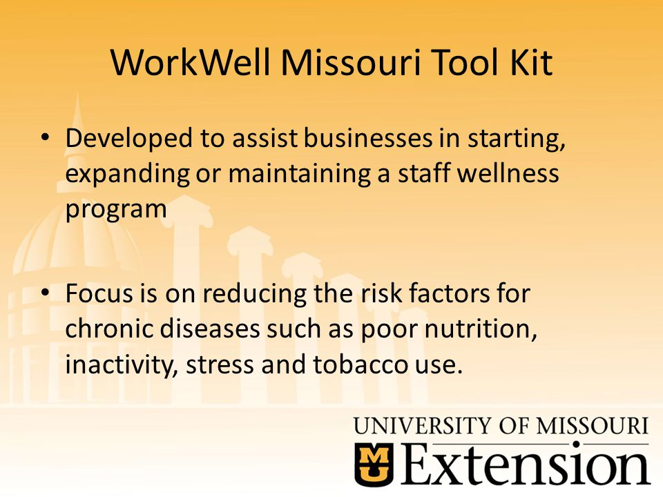 WorkWell Missouri Tool Kit Developed to assist businesses in starting, expanding or maintaining a staff wellness program Focus is on reducing the risk factors for chronic diseases such as poor nutrition, inactivity, stress and tobacco use.