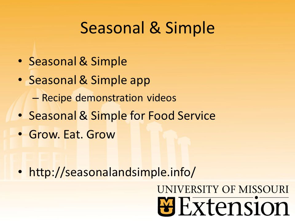 Seasonal & Simple Seasonal & Simple app – Recipe demonstration videos Seasonal & Simple for Food Service Grow.