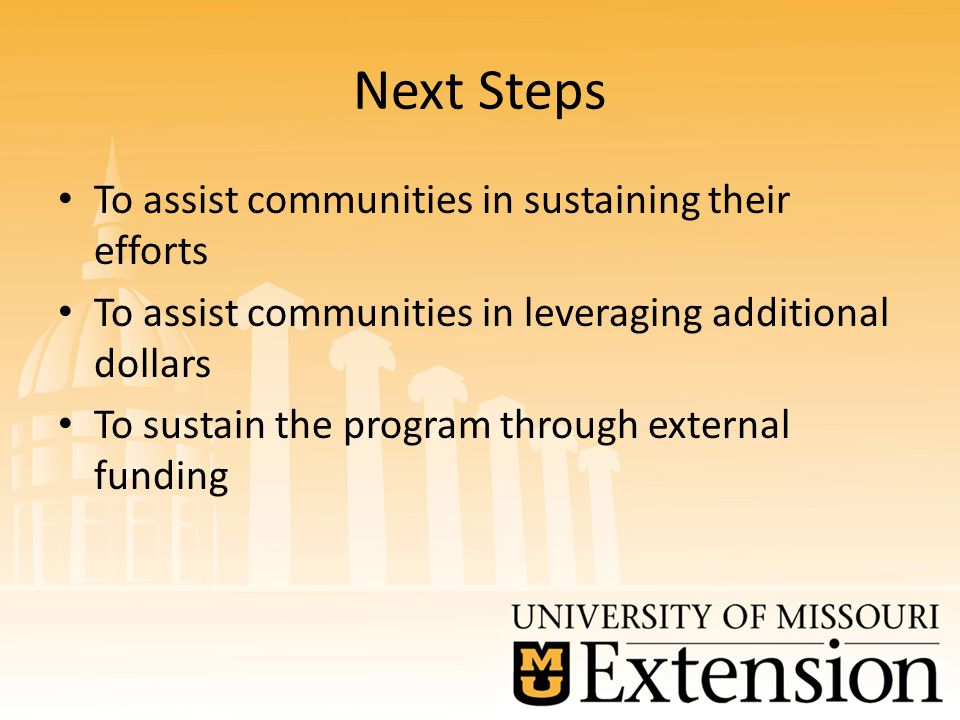 Next Steps To assist communities in sustaining their efforts To assist communities in leveraging additional dollars To sustain the program through external funding
