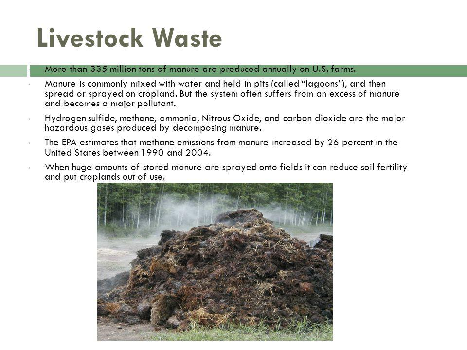Livestock Waste More than 335 million tons of manure are produced annually on U.S.