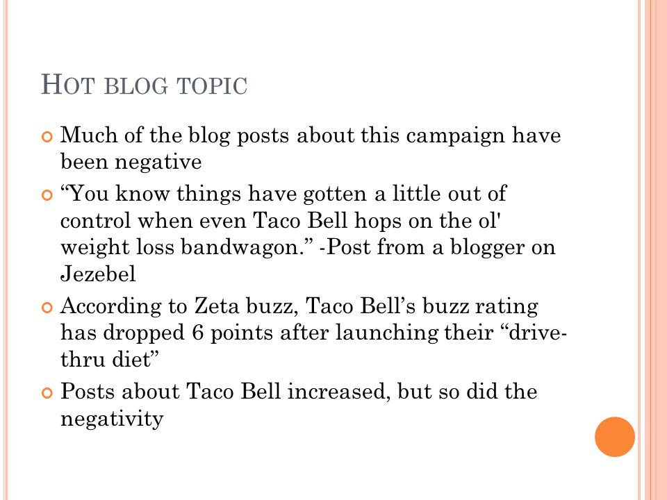 H OT BLOG TOPIC Much of the blog posts about this campaign have been negative You know things have gotten a little out of control when even Taco Bell hops on the ol weight loss bandwagon.