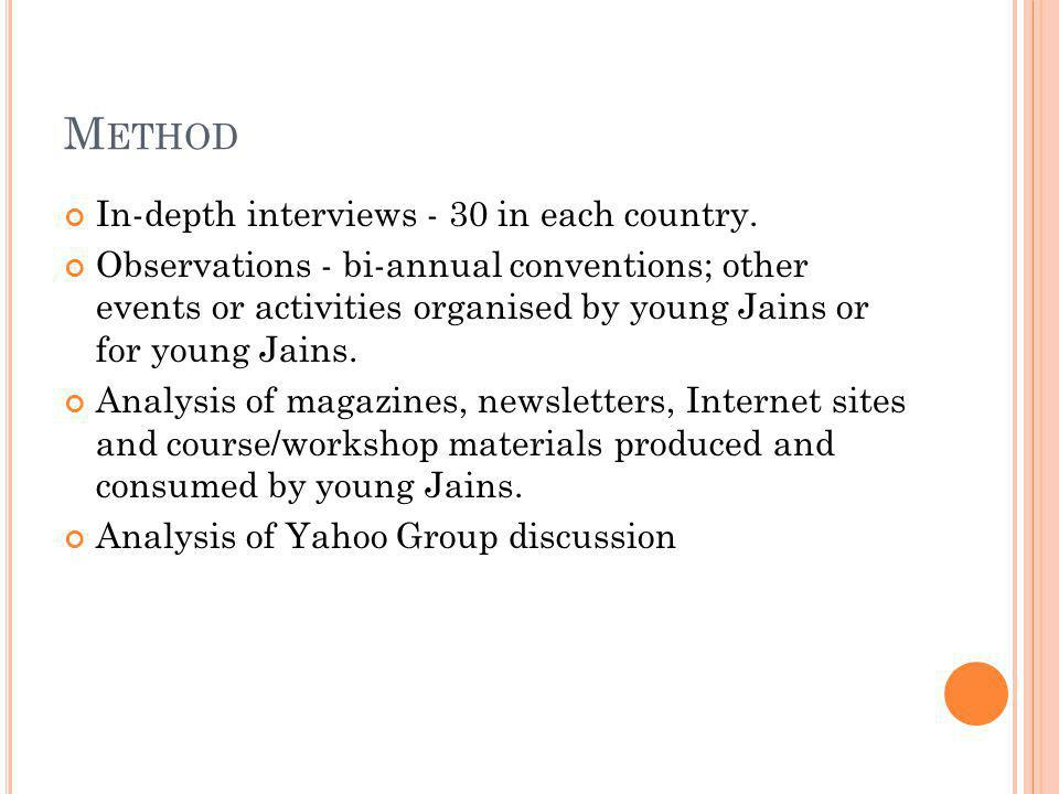 M ETHOD In-depth interviews - 30 in each country.