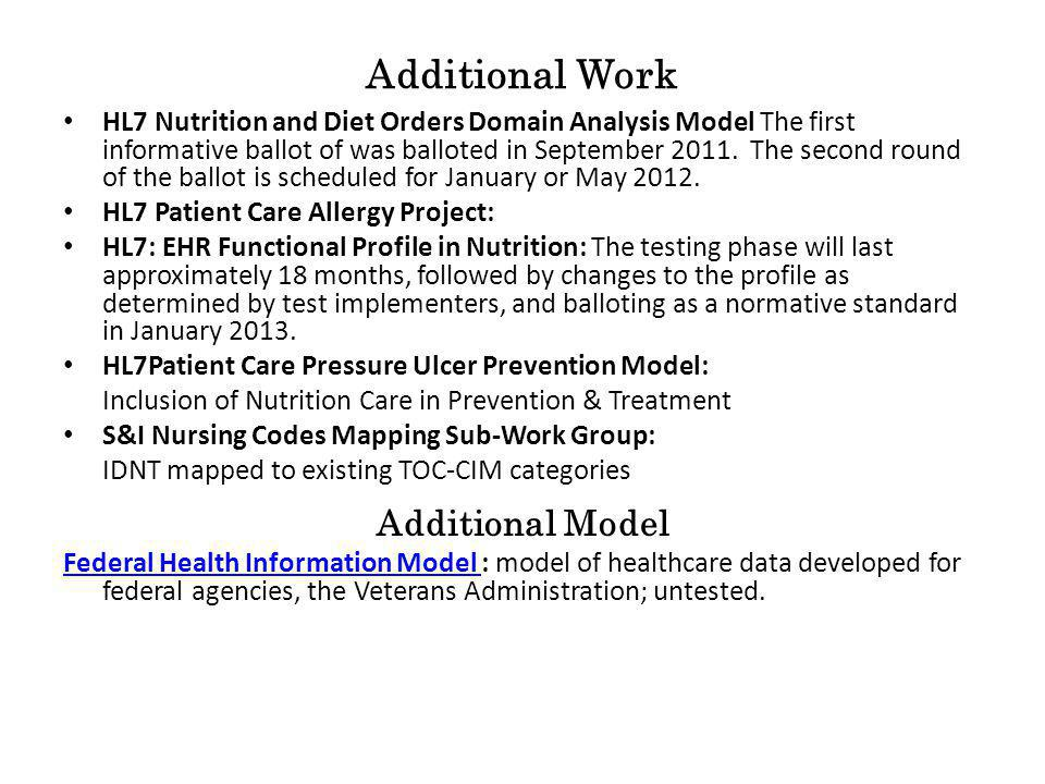 Additional Work HL7 Nutrition and Diet Orders Domain Analysis Model The first informative ballot of was balloted in September 2011.