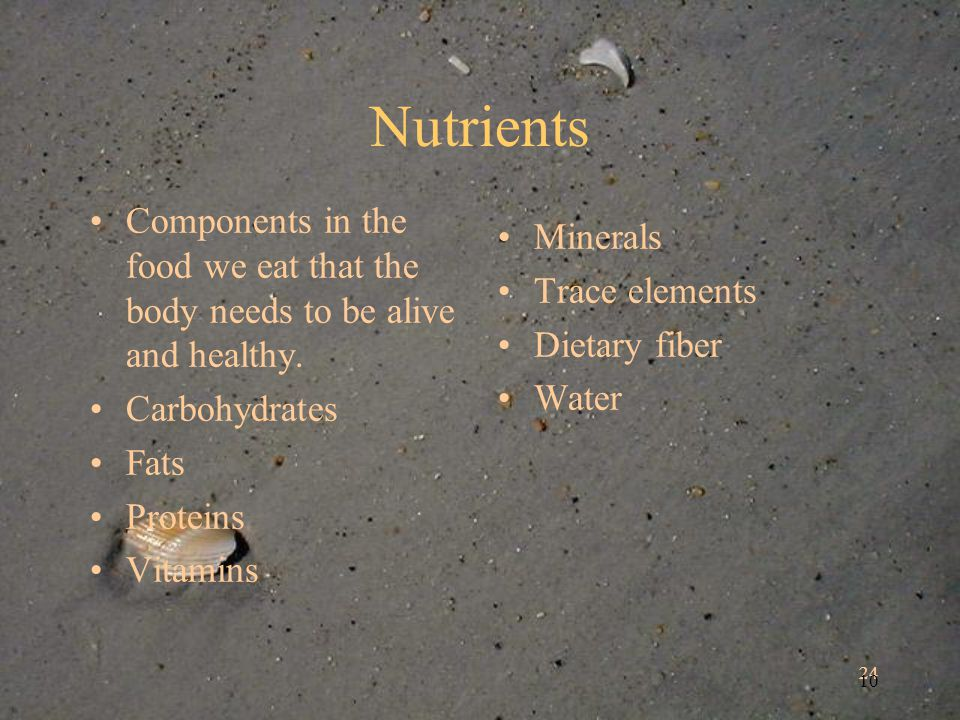 24 10 Nutrients Components in the food we eat that the body needs to be alive and healthy.