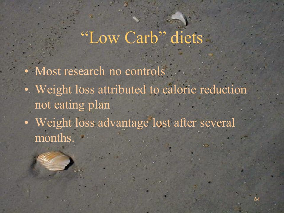 84 Low Carb diets Most research no controls Weight loss attributed to calorie reduction not eating plan Weight loss advantage lost after several months.
