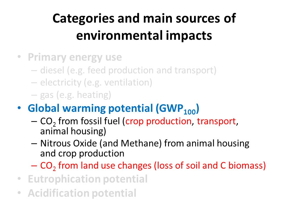 Categories and main sources of environmental impacts Primary energy use – diesel (e.g.