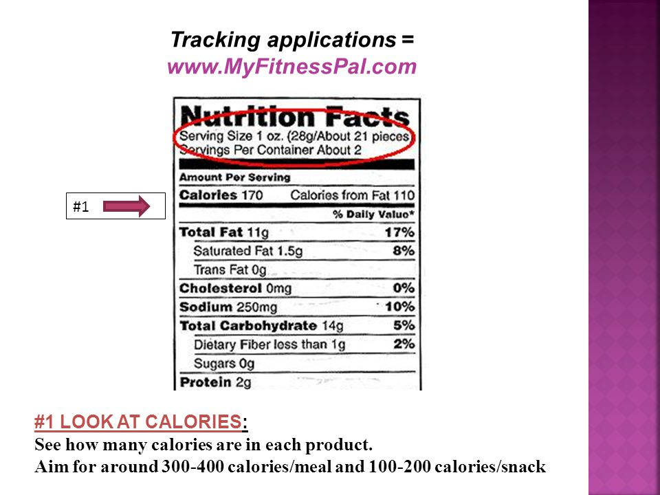 Tracking applications = www.MyFitnessPal.com #1 #1 LOOK AT CALORIES: See how many calories are in each product.