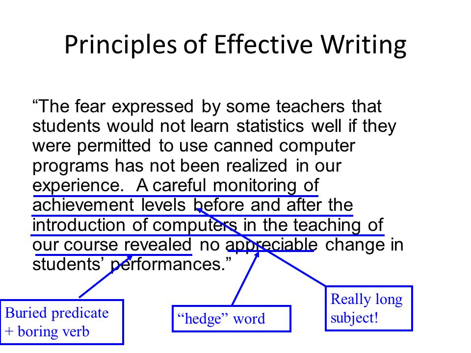 Principles of Effective Writing The fear expressed by some teachers that students would not learn statistics well if they were permitted to use canned computer programs has not been realized in our experience.