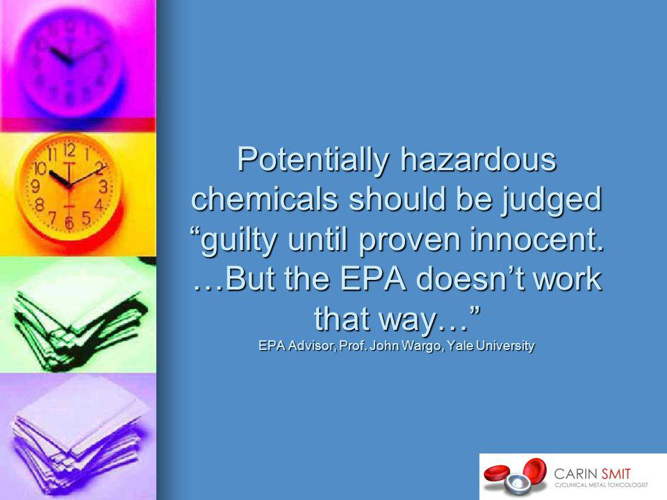 Potentially hazardous chemicals should be judged guilty until proven innocent.