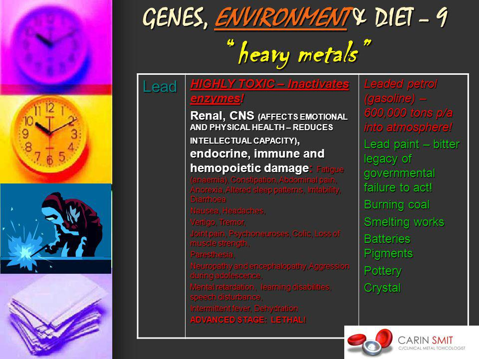 GENES, ENVIRONMENT & DIET – 9heavy metals Lead HIGHLY TOXIC – Inactivates enzymes.