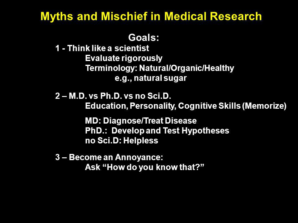 Myths and Mischief in Medical Research Goals: 1 - Think like a scientist Evaluate rigorously Terminology: Natural/Organic/Healthy e.g., natural sugar 2 – M.D.
