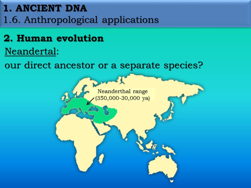 1. ANCIENT DNA 1.6. Anthropological applications 2.
