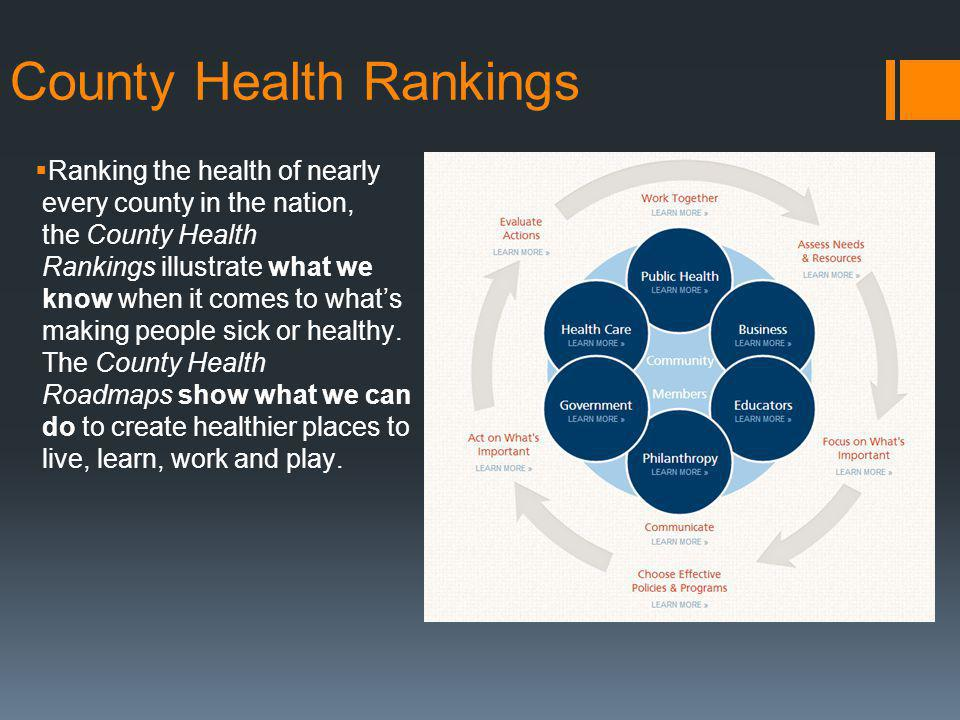 County Health Rankings Ranking the health of nearly every county in the nation, the County Health Rankings illustrate what we know when it comes to whats making people sick or healthy.
