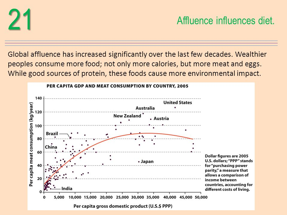 21 Affluence influences diet.