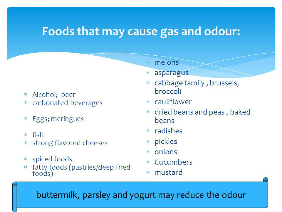 Foods that may cause gas and odour: Alcohol; beer carbonated beverages Eggs; meringues fish strong flavored cheeses spiced foods fatty foods (pastries/deep fried foods) melons asparagus cabbage family, brussels, broccoli cauliflower dried beans and peas, baked beans radishes pickles onions Cucumbers mustard buttermilk, parsley and yogurt may reduce the odour
