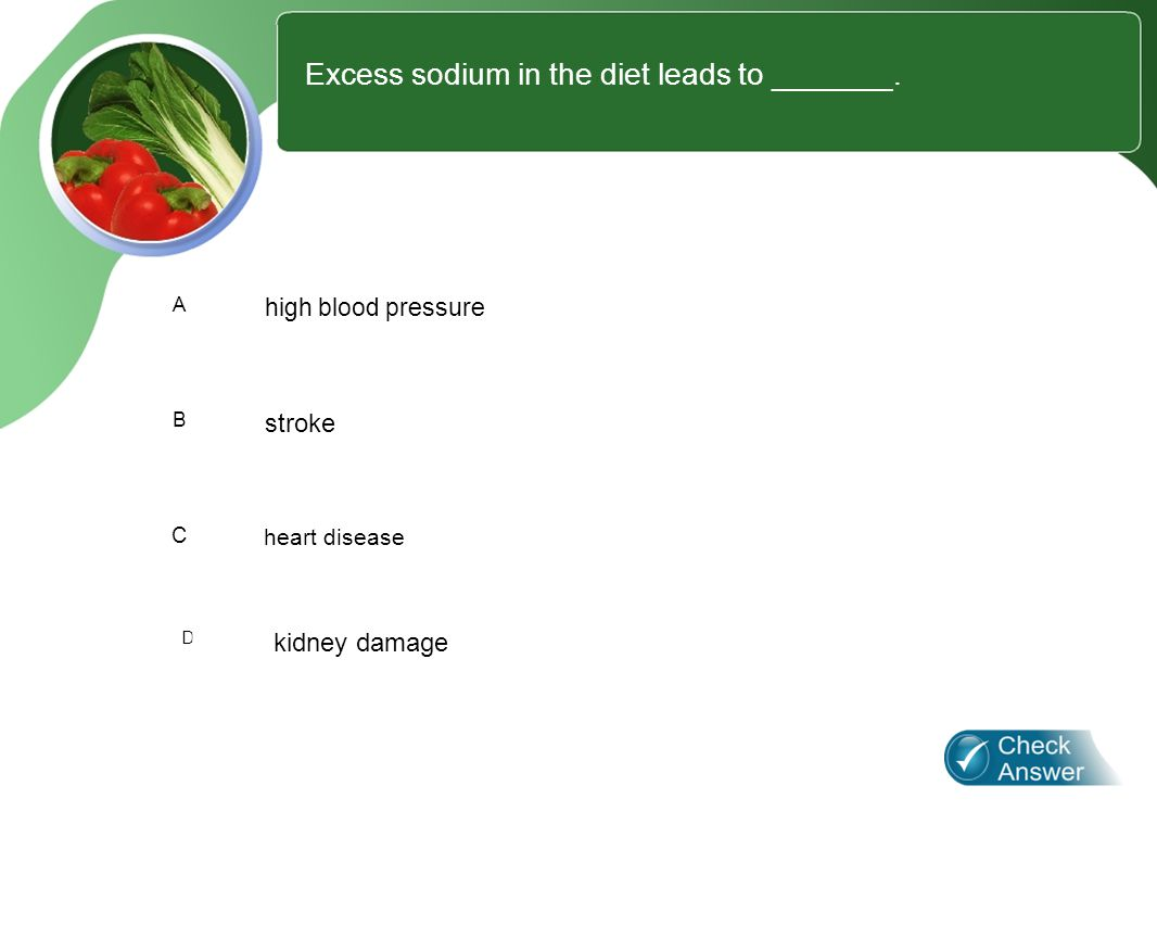 2 Excess sodium in the diet leads to _______.