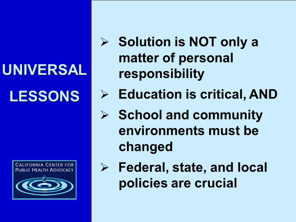 UNIVERSAL LESSONS 24.3% Solution is NOT only a matter of personal responsibility Education is critical, AND School and community environments must be changed Federal, state, and local policies are crucial
