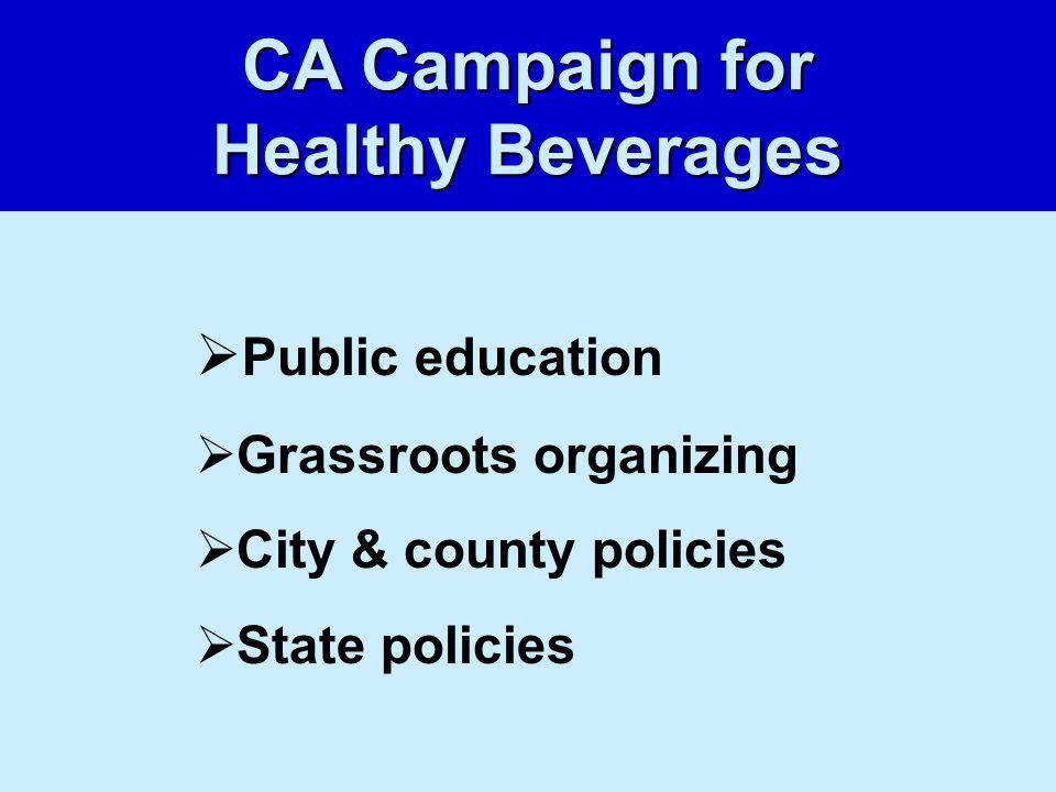 Public education Grassroots organizing City & county policies State policies CA Campaign for Healthy Beverages
