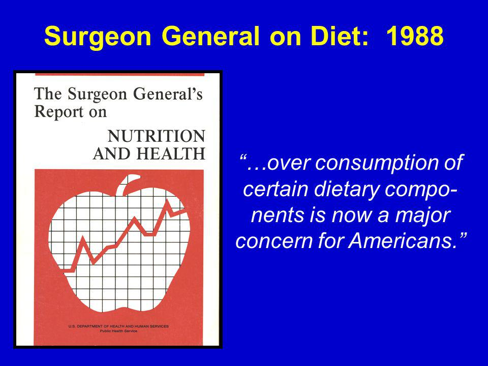 Surgeon General on Diet: 1988 …over consumption of certain dietary compo- nents is now a major concern for Americans.