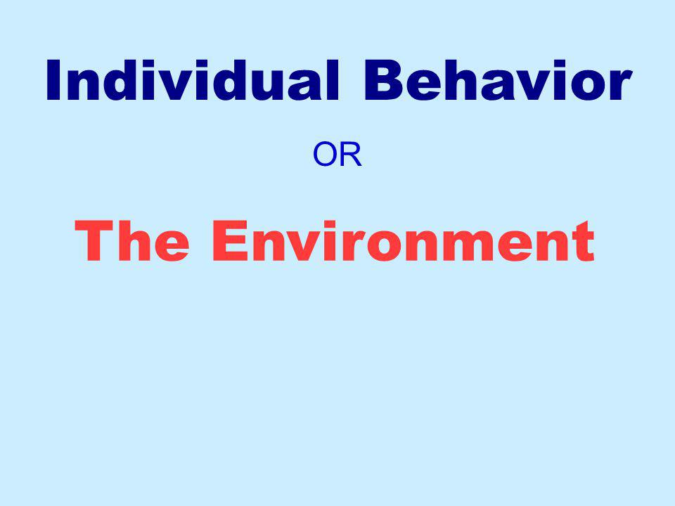 Individual Behavior OR The Environment