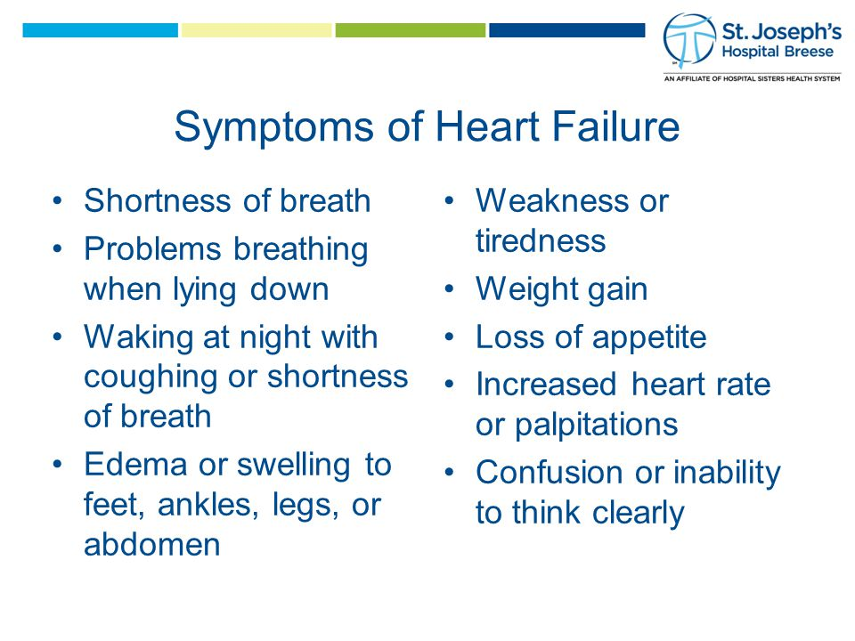 Symptoms of Heart Failure Shortness of breath Problems breathing when lying down Waking at night with coughing or shortness of breath Edema or swelling to feet, ankles, legs, or abdomen Weakness or tiredness Weight gain Loss of appetite Increased heart rate or palpitations Confusion or inability to think clearly