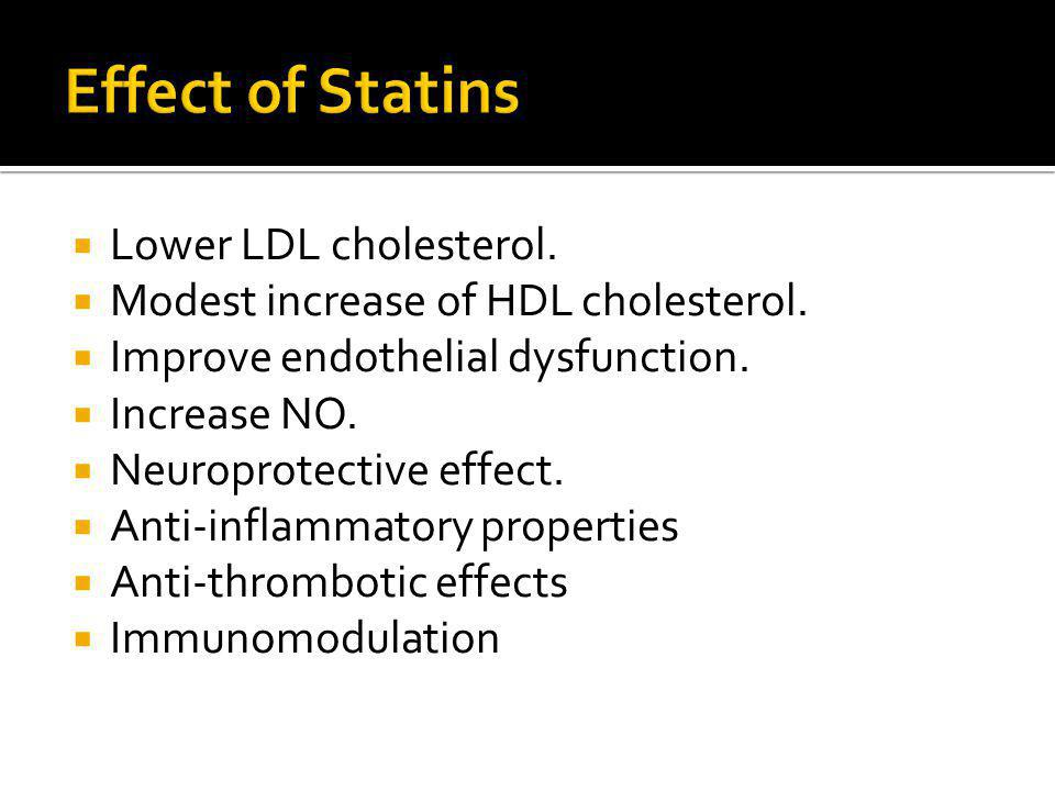 Lower LDL cholesterol. Modest increase of HDL cholesterol.