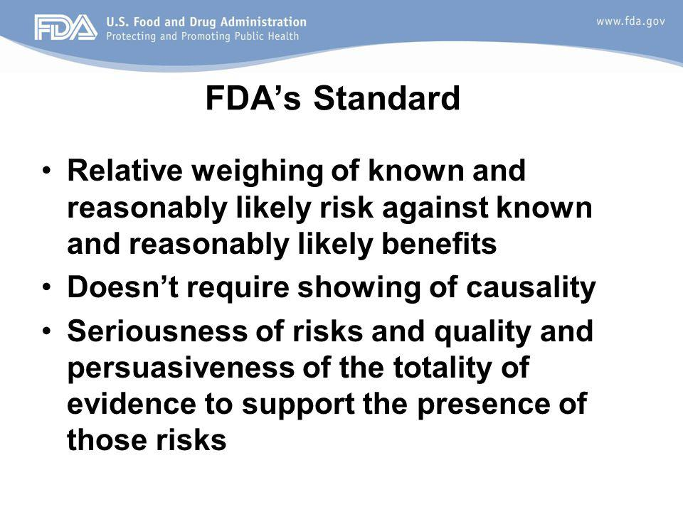 FDAs Standard Relative weighing of known and reasonably likely risk against known and reasonably likely benefits Doesnt require showing of causality Seriousness of risks and quality and persuasiveness of the totality of evidence to support the presence of those risks